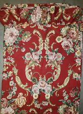 Ralph Lauren green label Danielle Marseilles Floral Red Flat Twin Sheet Ruffle