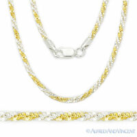 Sterling Silver 14k Gold 2.2mm Diamond-Cut Twist Rope Link Chain Necklace Italy