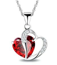 Sterling Silver Jewelry Women Zirconia Rhinestone Red Heart Necklace With Chain