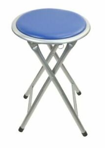 BLUE ROUND COMPACT FOLDING STOOL FOR HOME OFFICE