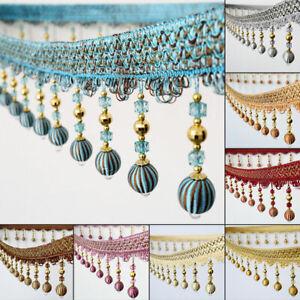 1M Hanging Ear Beads Pendant Curtain Trim Tassel Fringe Sewing Edging Decor