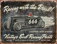 Vintage Evil Racing Rustic Retro Tin Metal Sign 13 x 16in