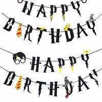 Harry Potter Party Supplies - Happy Birthday Banner Party Decoration Cake Topper