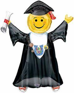 "2021 Grad Emoji Graduation 35"" 1x Supershape Foil Jumbo Birthday Party Balloon"
