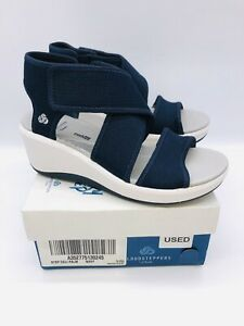 CLOUDSTEPPERS by Clarks Step Cali Palm Cross Strap Wedge Sandals Navy US 6W