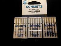 5 SCHMETZ Jeans Denim 100/16 110/18 Domestic Sewing Machine Needles Janome Elna