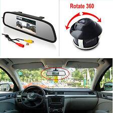 """4.3"""" LCD Screen Car Rear View Backup Mirror Monitor+360° Rotatable HD Camera Kit"""