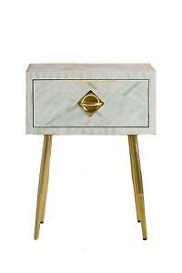 Bone inlay White on White Stripe Design Bedside Table Home Decor With Insurance