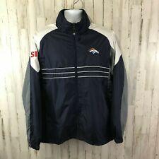 NFL Reebok Mens Jacket L Blue Denver Broncos SI Windbreaker