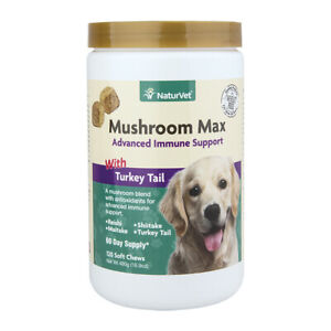 NaturVet Mushroom Max Advanced Immune Support with Turkey Tail 120 ct for Dogs