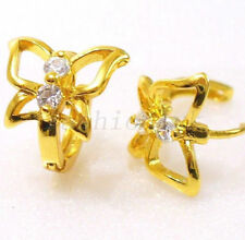 Snap Closure Hoop Yellow Gold Plated Round Costume Earrings