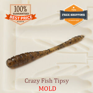 Crazy Fish Tipsy Worm Bait Mold Fishing Soft Plastic Lure 38-50 mm
