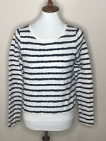 Anthropologie XS Postmark Black White Stripe Long Sleeve Sweater Women's