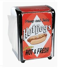Retro Metall-Serviettenspender Motiv: Hot Dogs ca. 14x10 cm inkl. 100 Servietten