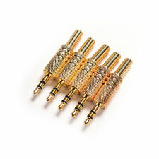 5Pcs 3.5mm Stereo Jack Plug Metal Body Connector Adapter Replacement Gold Plated