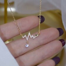 925 Silver Zircon ECG Signal Love Pendant Necklace Women Clavicle Jewelry Gifts