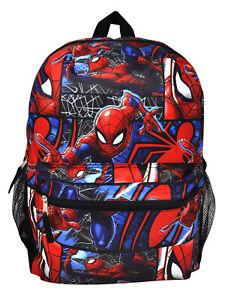 """Boys Kids Marvel Spider-Man Backpack 16"""" Superhero All-over Front & Side Pockets"""