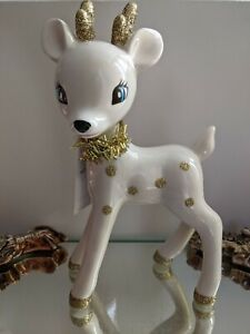 Wondershop Retro Style Ceramic White Deer, Reindeer Figurine-REPAIRED