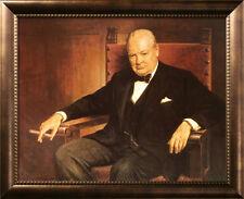 Sir Winston Churchill Framed Art Poster Print by Arthur Pan, 34x28