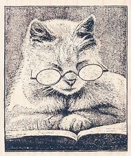 "Cattus Librum V239   Stampendous Rubber Stamp   2.5"" x 3"" Cat Reading Book"