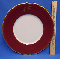 Syracuse China Round Serving Plate Platter Tray Monogrammed HF Gold Maroon Red