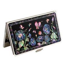 Porte-cartes visite Nacre Métal Business Design Original Corée CONVOLVULVUS BLEU
