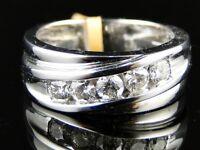 MENS WHITE GOLD 5 STONE WEDDING BAND ROUND CUT DIAMOND 8 MM RING 1.0 CT