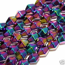 """Magnetic Hematite Stone Jewelry Beads Rainbow Bicone 6mm 16"""" Bead Strand HR10"""