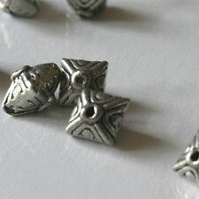 4 Perles Métal Berlingots - PLAQUE ARGENT 4 Microns  -  9X9 mm