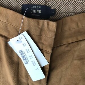 NWT - J Crew Chino Shorts - 100% Cotton - 7 Inch Inseam - Size 6 - Carmel Brown