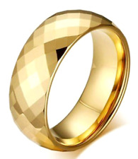 Gold Plated Tungsten Carbide Faceted RING BAND, sizes - 7, 8, 9, 10, 11, 12, 13
