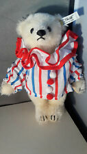 STEIFF  Circus Clown White Teddy Bear 8 inches  mohair 0163/20 issued 1989