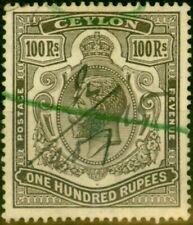 Ceylon 1912 100R Grey-Black SG321 Fine Used Fiscal Cancel