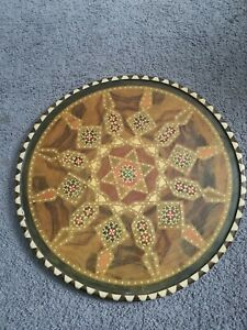 """Mosaic Middle Eastern Wooden Marquetry Plate Inlaid Tray - 17"""""""