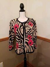 Jack B Quick Cardigan Sweater Brown With Black Stripes  Sz L