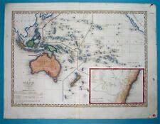 1838 Original Map Australia New Zealand Oceania Guam Hawaii Papua East Indies