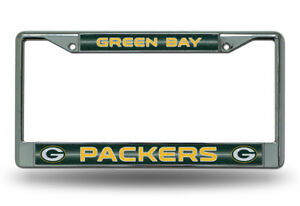 Green Bay Packers BLING Metal Chrome License Plate Frame Auto Truck Car NWT