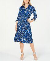 Calvin Klein NWTElegant COBALT MULTI Abstract-Print Midi Shirt dress 4,6,8,10,12