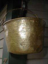 Antique Brass Bucket Pail Kettle w Swing Handle -Decorative Hearth Ware 1800s