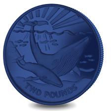 2017 South Georgia & Sandwich Islands Blue Whale Titanium Coin w/box & COA