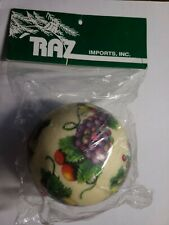 "New Raz Imports Grapes Leaves White Christmas Tree Ornament 3 1/2"" Vintage"