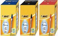 50 Penne BIC CRISTAL soft medium large Sfera Nere Rosse Blu Scuola Ufficio