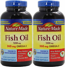 2x Nature Made Fish Oil 1200 mg (360 mg OMEGA-3) 200 Liquid Softgels