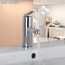 US Modern Deck Mount Chrome Bathroom Basin Sink Mixer Brass Taps Hot&Cold Faucet