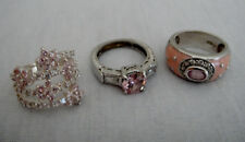 LOT OF 3 VINTAGE RINGS~925 STERLING SILVER~CZ PINK SOLITAIRE~ENAMEL BAND~FLOWERS