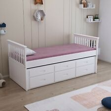White 3ft Single Captain Cabin Guest Trundle Bed Frame 3 Drawers Storage Painted
