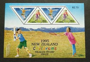 1995 New Zealand Children Health Sports Games Tennis Cricket Cycling MS Mint NH