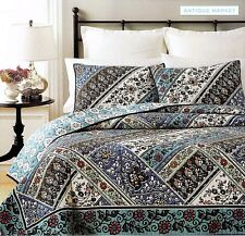 New QUILT FULL QUEEN MARTHA STEWART Reg$200 Antique Market COLORFUL REVERSIBLE