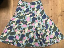 WHITE STUFF 100% Cotton Ladies Floral Pink Grey Blue Beige Skirt @ Size 8