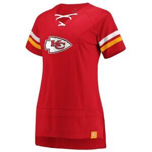 Kansas City Chiefs Fanatics Branded Women's Lace Up T-Shirt -Red/Yellow  NWT